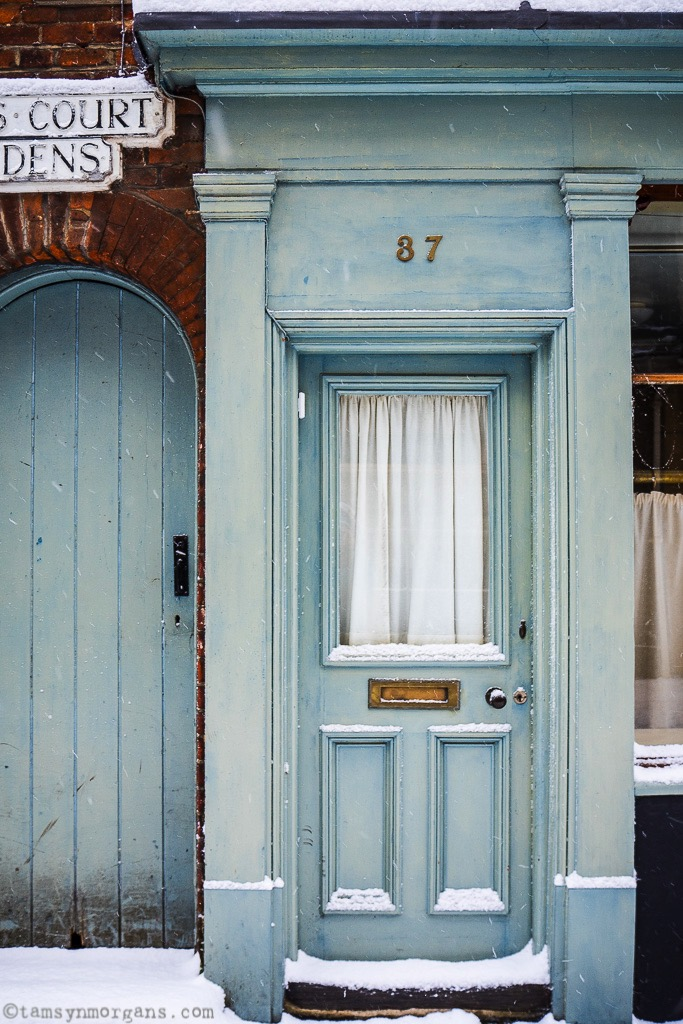Spotted this beautiful blue door on Elm Hill, Norwich, complete with a dusting of snow...