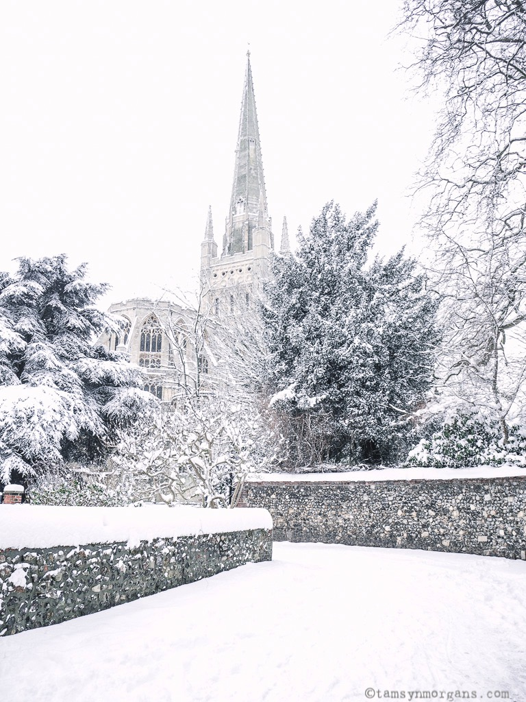 Norwich Cathedral looking like Narnia in the snow